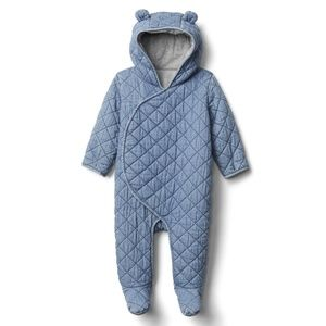 EUC Baby Gap Quilted Chambray Bear Hooded Snowsuit